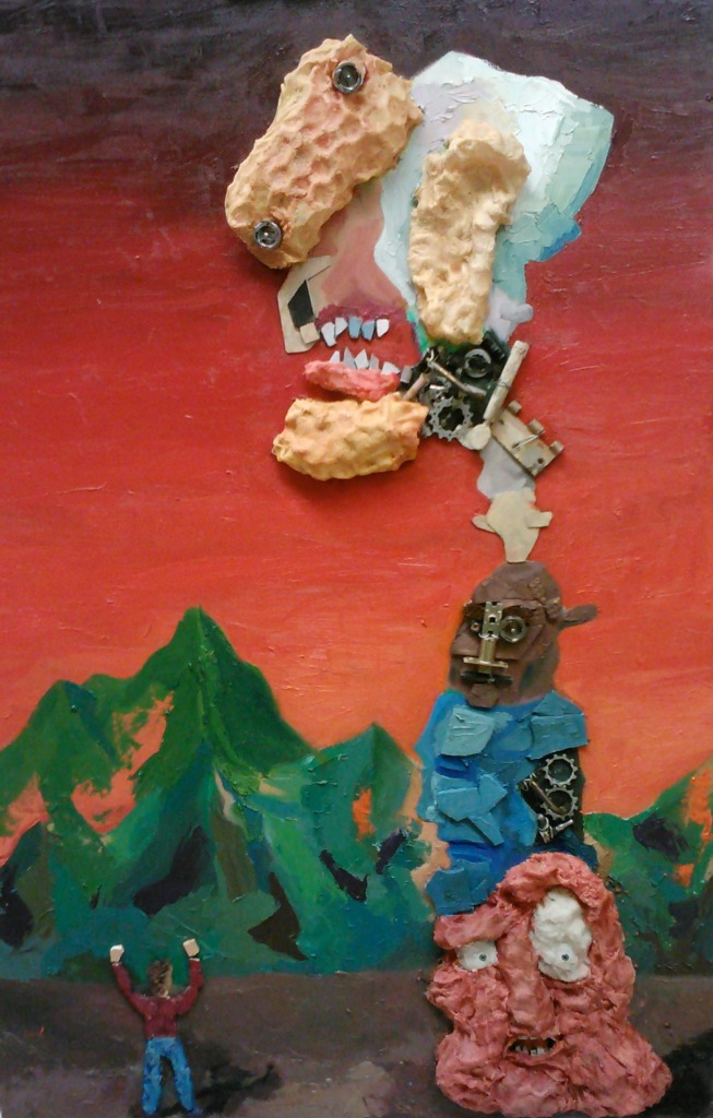 Spring 2012: A relief painting that incorporates wax, junk metal, old radio part, bike gears, ceramic tiles and oil paint - by Adam Tarakhan